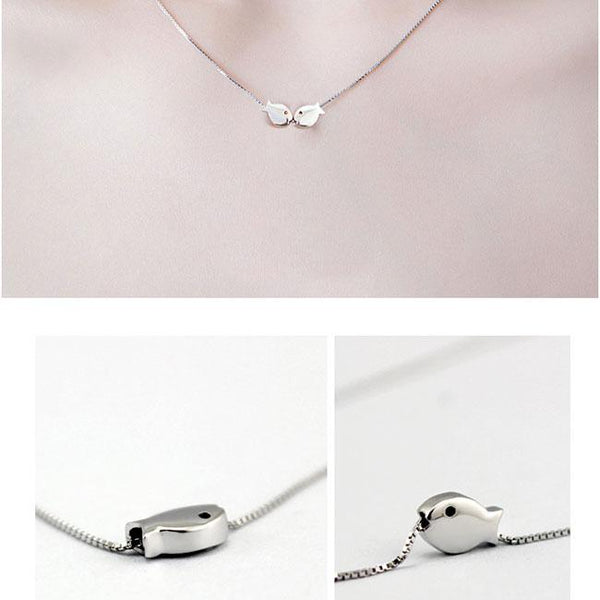 Fashion Romantic Kissing-fishes Polished Pendant Women Gift Silver Animal Double Fish Necklace For Big Sale!- Fowish.com