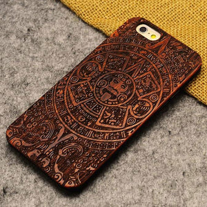 Handmade Carving God Totem Wood  Case For Iphone 5/5S/6/6Plus - lilyby