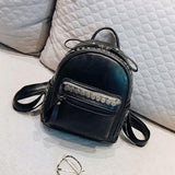 Retro Leisure Leather Punk Rivet College Women's Backpack For Big Sale!- Fowish.com