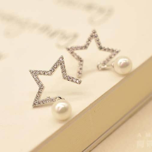 Cute Hollow Star Pearl Pendant Silver Women Earring Studs For Big Sale!- Fowish.com