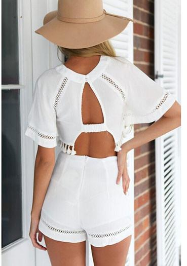 Round Neck Hollow Backless  Short Suits Romper For Big Sale!- Fowish.com