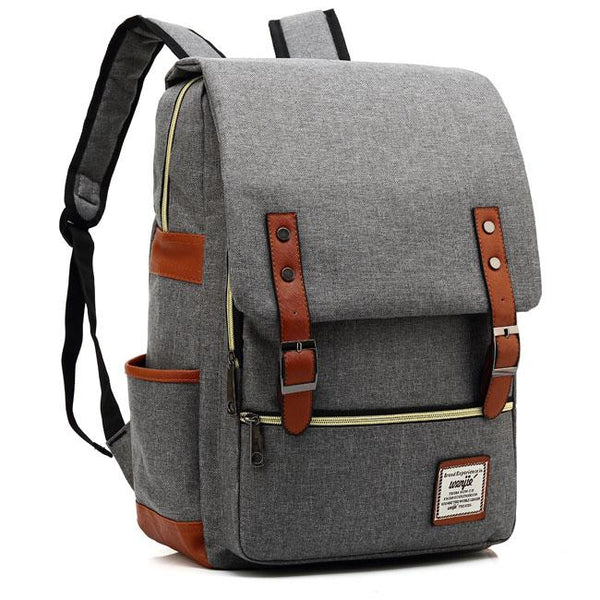 Vintage Double Belt Large Thick Canvas Girl's College Rucksack USB Interface School Backpack For Big Sale!- Fowish.com