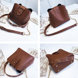 Leisure Chain Women Soft PU Single Buckle Handbag Shoulder Bag