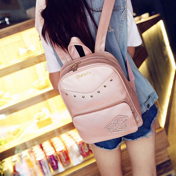 Sweet Rivet PU School Rucksack Diamond Zipper Backpack Gift Small Shoulder Bag For Big Sale!- Fowish.com