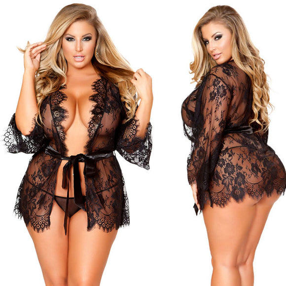 Sexy Night Gown Perspective Women Intimate Large Flower Lace Nightdress Lingerie