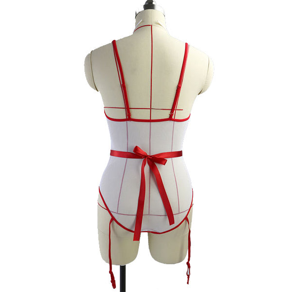 Sexy Open Perspective Fish Net Uniform Temptation Conjoined Nurse Cosplay Women Lingerie