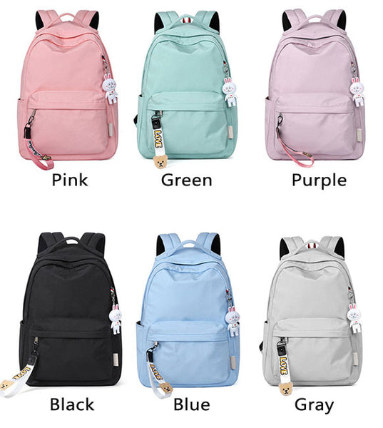 Sweet Simple Pure Color Large Waterproof High School Bag Student Backpack