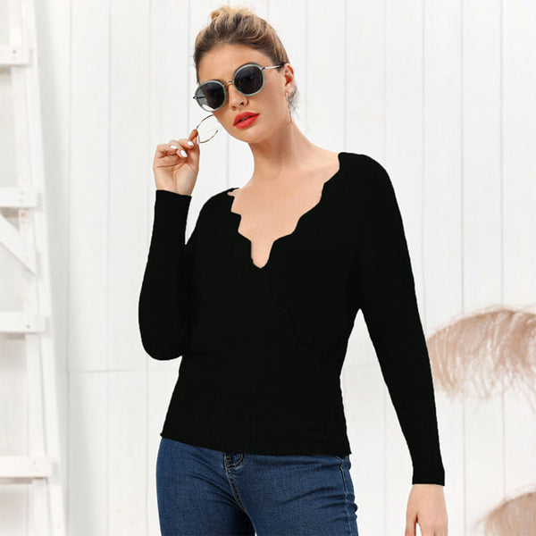 New  Autumn Winter Solid Color Knit Slim V-neck Long-Sleeved Cardigan Women Sweater