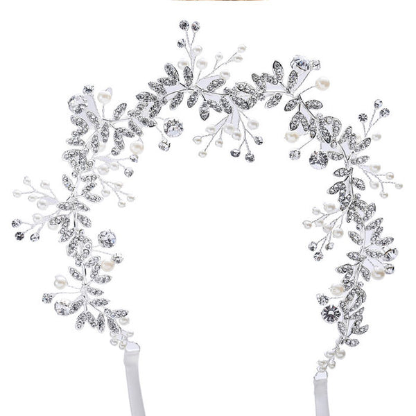 Fresh Flower Branch Leaves Pearl Bridesmaid Hairpin Wedding Crystal Bride Hair Band Hair Accessories