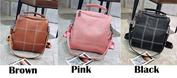 Vintage Square PU Large Soft Leather Rivet Multifunction Shoulder Bag School Backpack For Big Sale!- Fowish.com