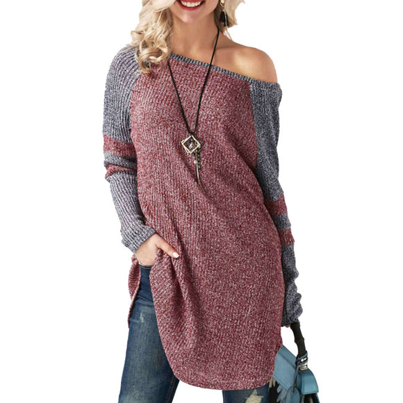 Unique Stitching Strapless Women's Long  Long Sleeve Sweater