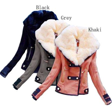 Fashion With Large Plush Collar Slim Short Jacket Biker Jacket For Big Sale!- Fowish.com