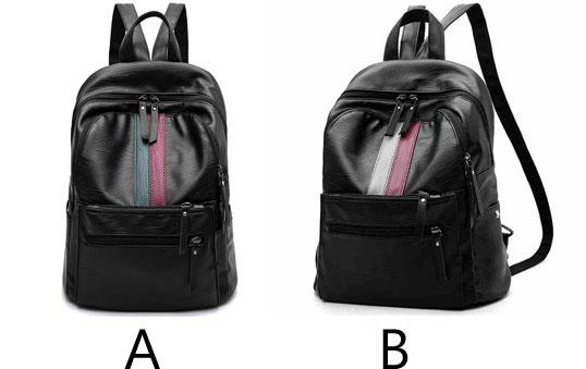 Unique Girl's Red Green Stripe Large Capacity School Backpack PU Black Travel Backpack For Big Sale!- Fowish.com