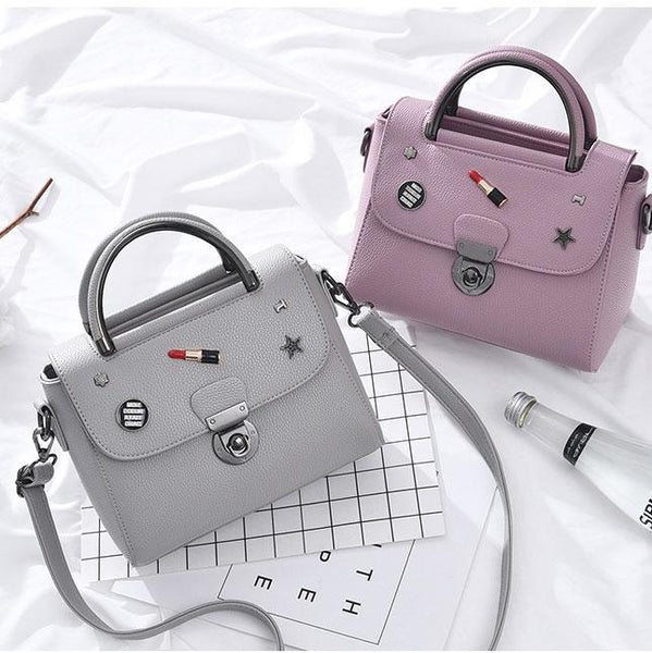 Unique Lipstick Button PU Leather Handbag Multi-function Women Tote Shoulder Bag For Big Sale!- Fowish.com