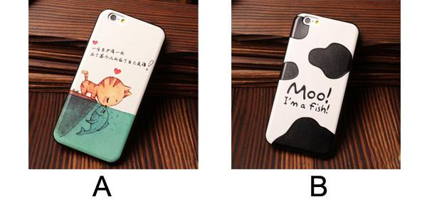 Cat kiss Fish Milk Cow Pattern Soft Relief Silicone Cases For Iphone 5/5S/6/6S - lilyby