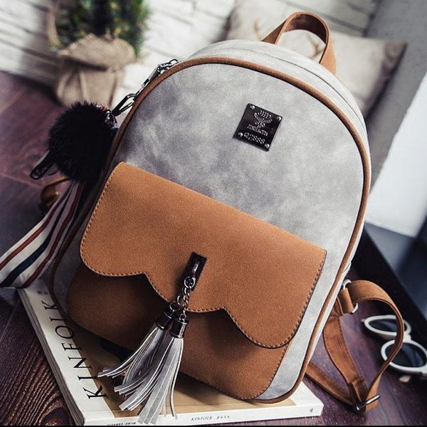 Leisure Contrast Color Frosted Girl's Bag Retro Tassel Splicing College Backpacks For Big Sale!- Fowish.com