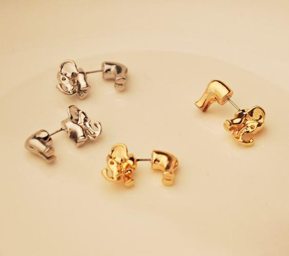 Funny Cute 3D Elephant Earrings Studs - lilyby