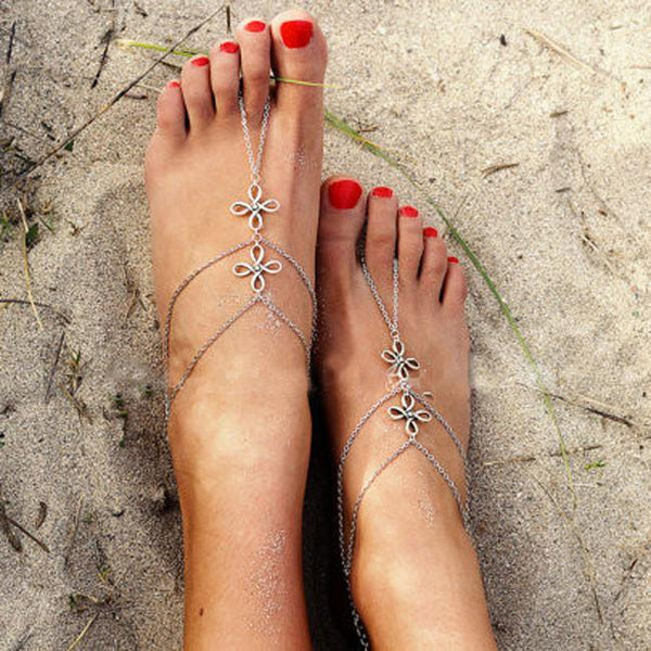 Retro Three Layers Knot Simple Toe Clover Foot Jewelry Chain Anklet For Big Sale!- Fowish.com