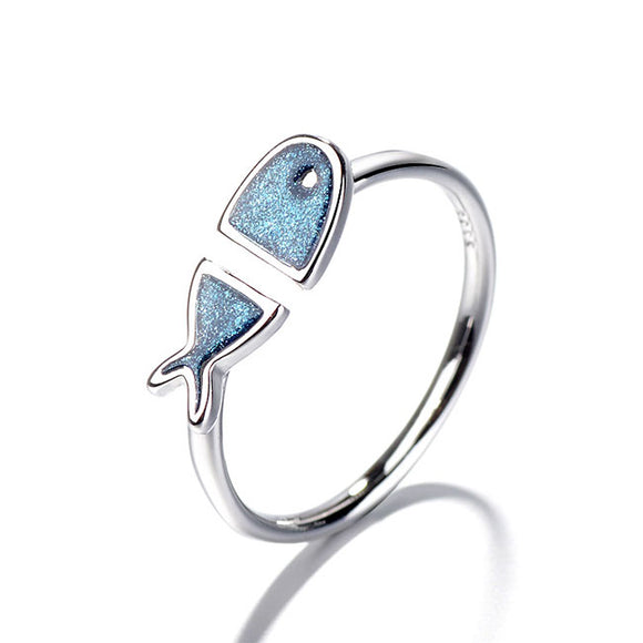 Lovely Blue Fish Friend Gift Animal Open Ring
