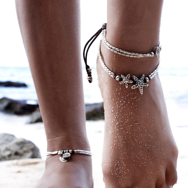 Retro Double Starfish Rune Yoga Foot Accessory Bundle Summer Anklet