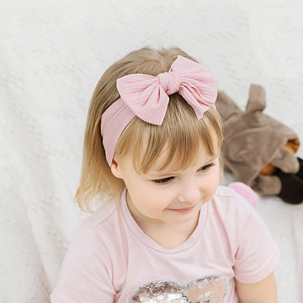 Lovely Elastic Force Nylon Child Headband Wide Side Bow Baby Headband