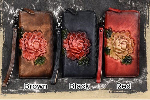 Retro Rose Long Wallet Lady Original Phone Purse 3D Red Flower Embossing Clutch Bag