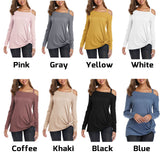 New Pure Color Single Shoulder Strapless Long Sleeve Twisted Tops