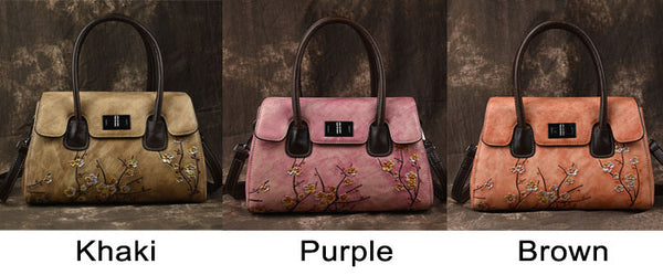 Vintage Unique Original 3D Plum Flower Handbag Cowhide Shoulder Bag