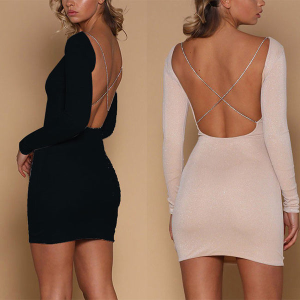 Sexy Sequin Long-sleeved Backless Nightclub Slim-fit Short Dress