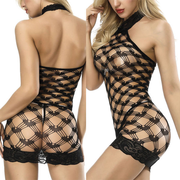 Sexy Grid Conjoined Intimate Lace Fish Net Hollow Women Lingerie