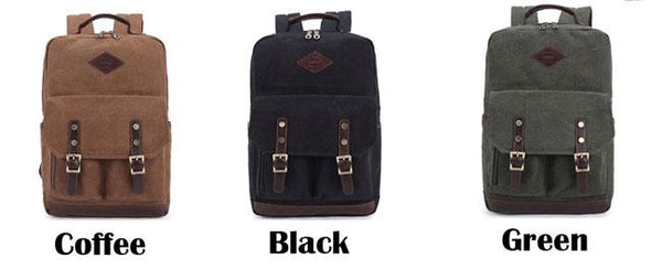 Retro Two Pockets Outdoor Travel Rucksack Student Large Canvas Backpack For Big Sale!- Fowish.com