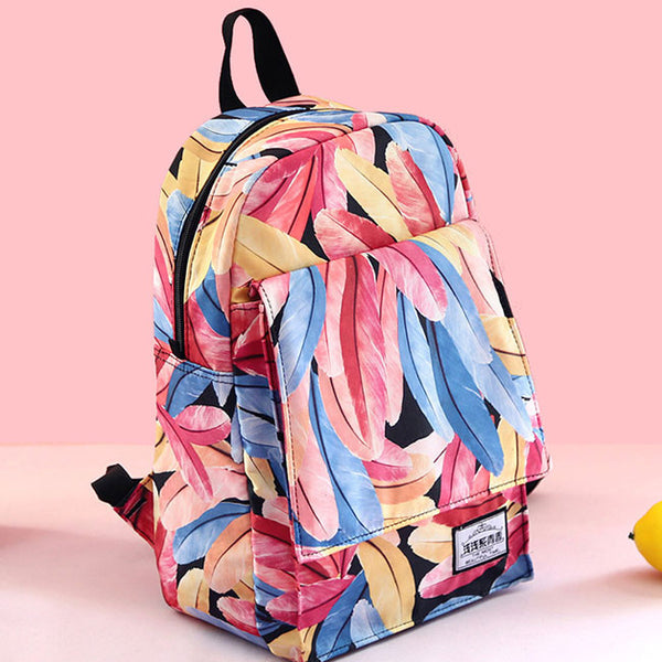 Unique Plume Colorful Print Young Girl Student Backpack Feather High School Bag