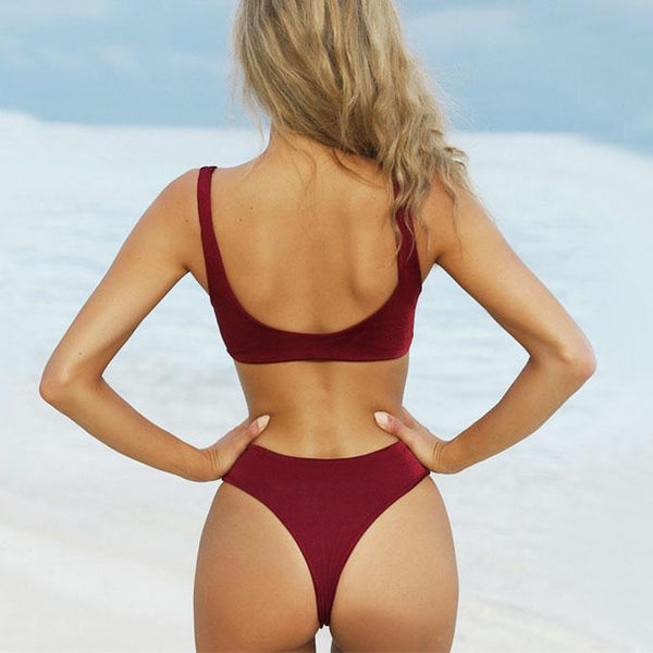 Sexy Front Chest Bow Swimsuit Simple Women's Bikini For Big Sale!- Fowish.com