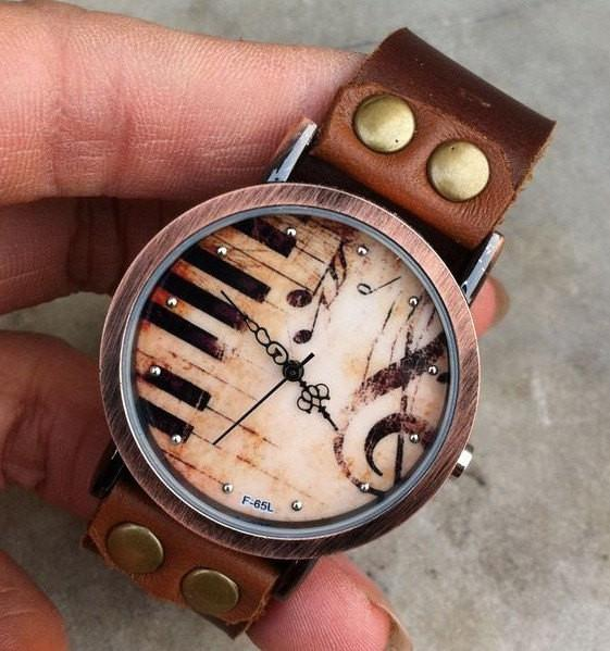 Vintage Handmade Piano Leather Watch For Big Sale!- Fowish.com