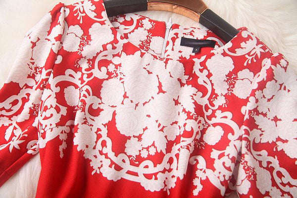 Retro Flouncing Printed Ladies Slim Dress For Big Sale!- Fowish.com