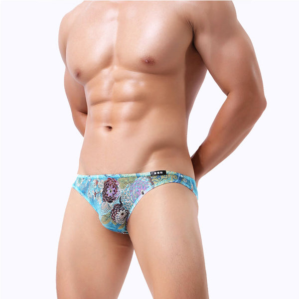 Sexy High Elasticity Floral Male Pants Lingerie Flower Man Underwear