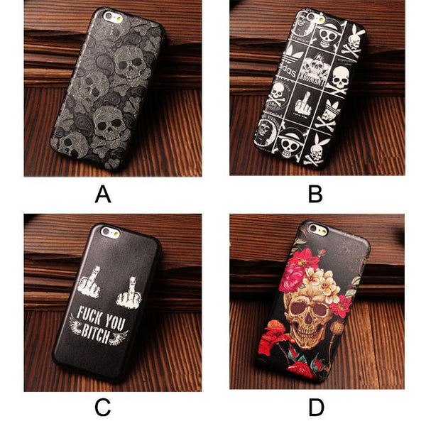 Skeletons Bone Pirates Offbeat Relief Silicone Soft Cases For Iphone 5/5S/6/6S For Big Sale!- Fowish.com