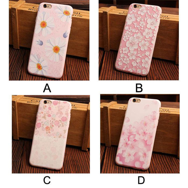 Candy Pink Flower Series Relief Silicone Soft Iphone Cases For 6/6Plus - lilyby