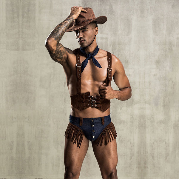 Sexy Denim Underwear Uniform Temptation Wild Tassel Cowboy Personality Men's Lingerie