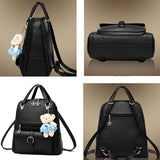 Casual Embossing Backpack Flower Zipper Bear Solid Color Handbag - lilyby