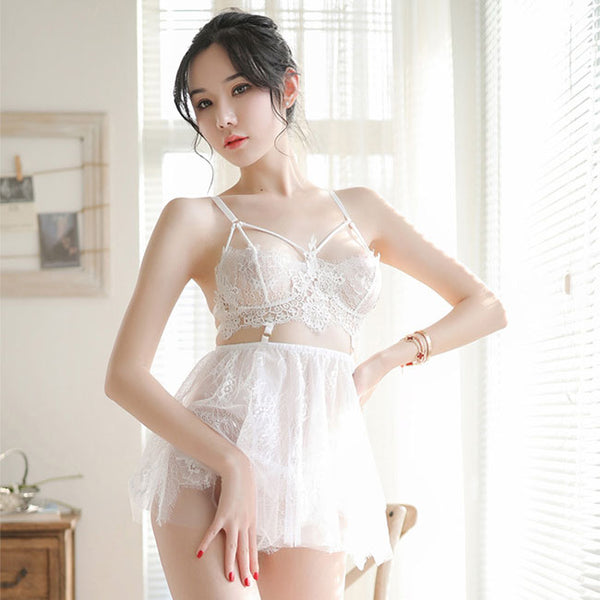 Sexy Pajamas Sling Perspective Skirt Lace Bra Set Nightdress Women Lingerie