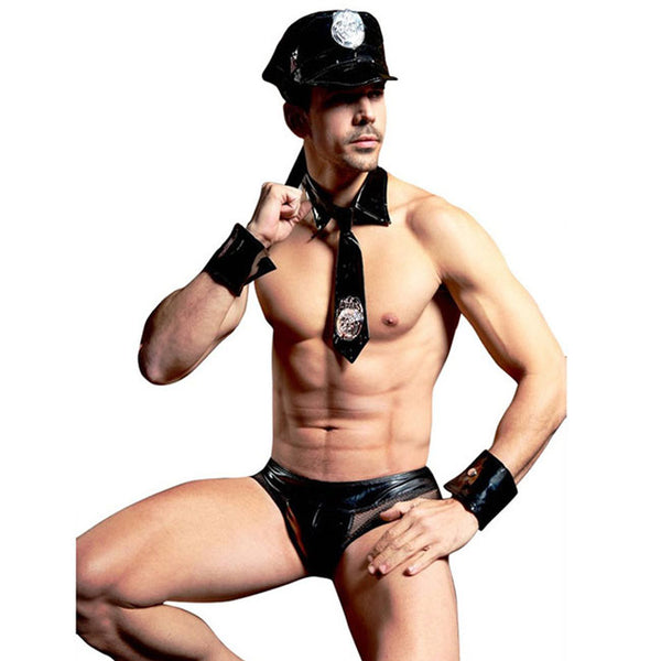 Sexy Policeman Uniform Leather Men's Temptation Cosplay Man Lingerie