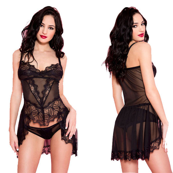 Sexy Perspective Pajamas Women Black Lace Strap Nightdress Intimate Lingerie
