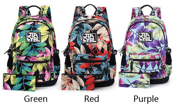 Harajuku Leaves Printing College Rucksack Waterproof Large School Backpack For Big Sale!- Fowish.com