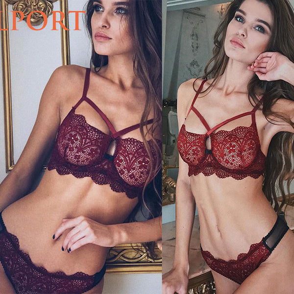 Sexy Floral Lace Hollow Underwear Bra Women Temptation Intimate Lingerie