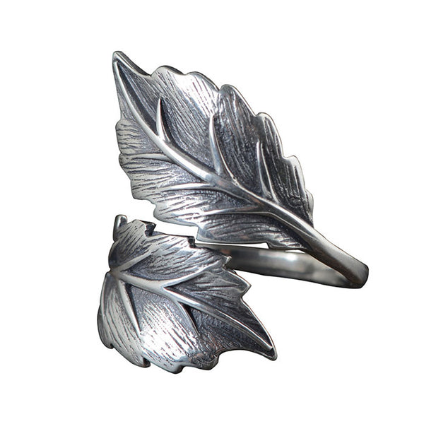Retro Unique Design Double Leaves Silver Open Leaf Women's Rings