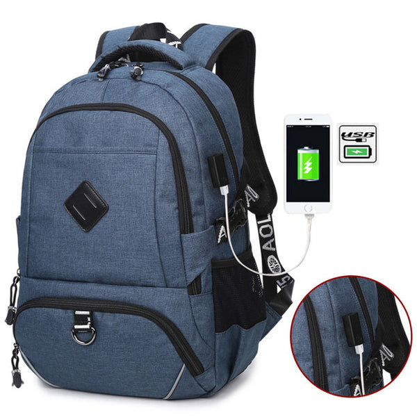 Leisure Large USB Interface Trunk Simple Travel Rucksack Laptop Bag Sport Backpack