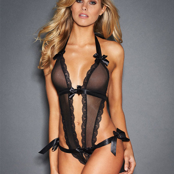 Sexy Bow Conjoined Lace Bandage Perspective Black Sling Women Intimate  Lingerie c2467669d