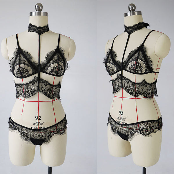 Sexy Black Lace Bra Bandage Women Intimate Lingerie