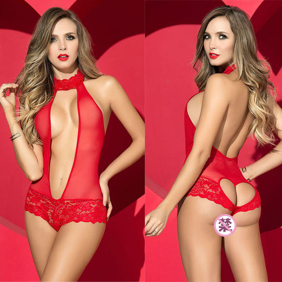 Sexy Heart Deep V Conjoined Perspective Women Red Back Love Lace Underwear  Lingerie c8d6b1706